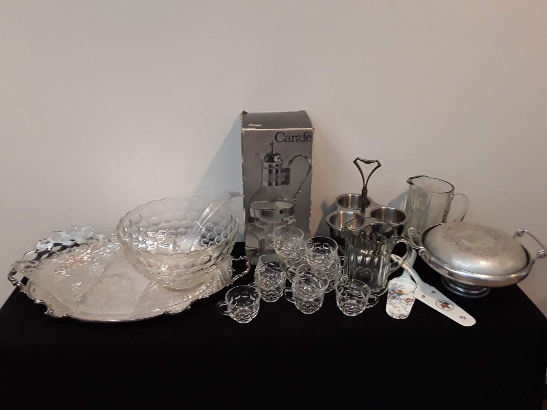 Lot # 100 - Vintage Pitchers, Painted Enamel Utensils, Vintage serving dish w/lid, Carafe, Punchbowl w/12 cups (main image)
