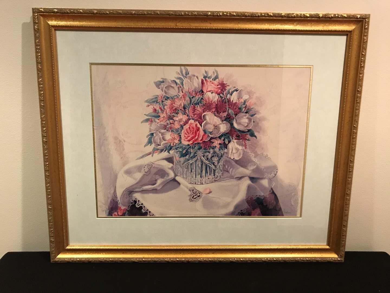 Lot # 52 - Gilt-Framed Audean Johnson's an English Bouquet pastel  (main image)