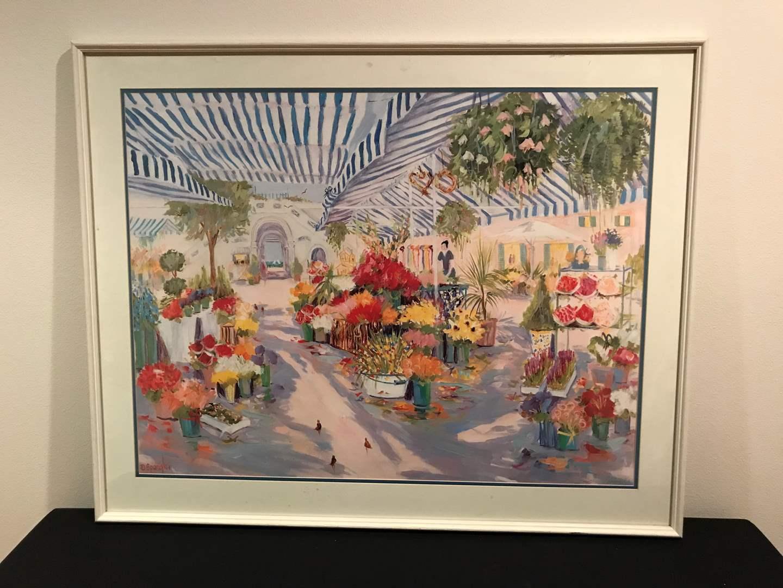 "Lot # 53 - Signed and Autographed Dorothy Spangler ""Sunday Flower Market""  (main image)"