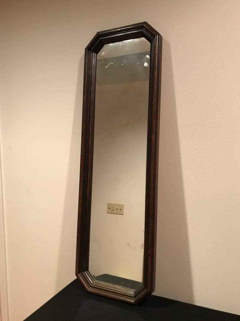Lot # 54 - Tall Dressing Mirror plus Five (5) Nicely Framed Art Works (main image)
