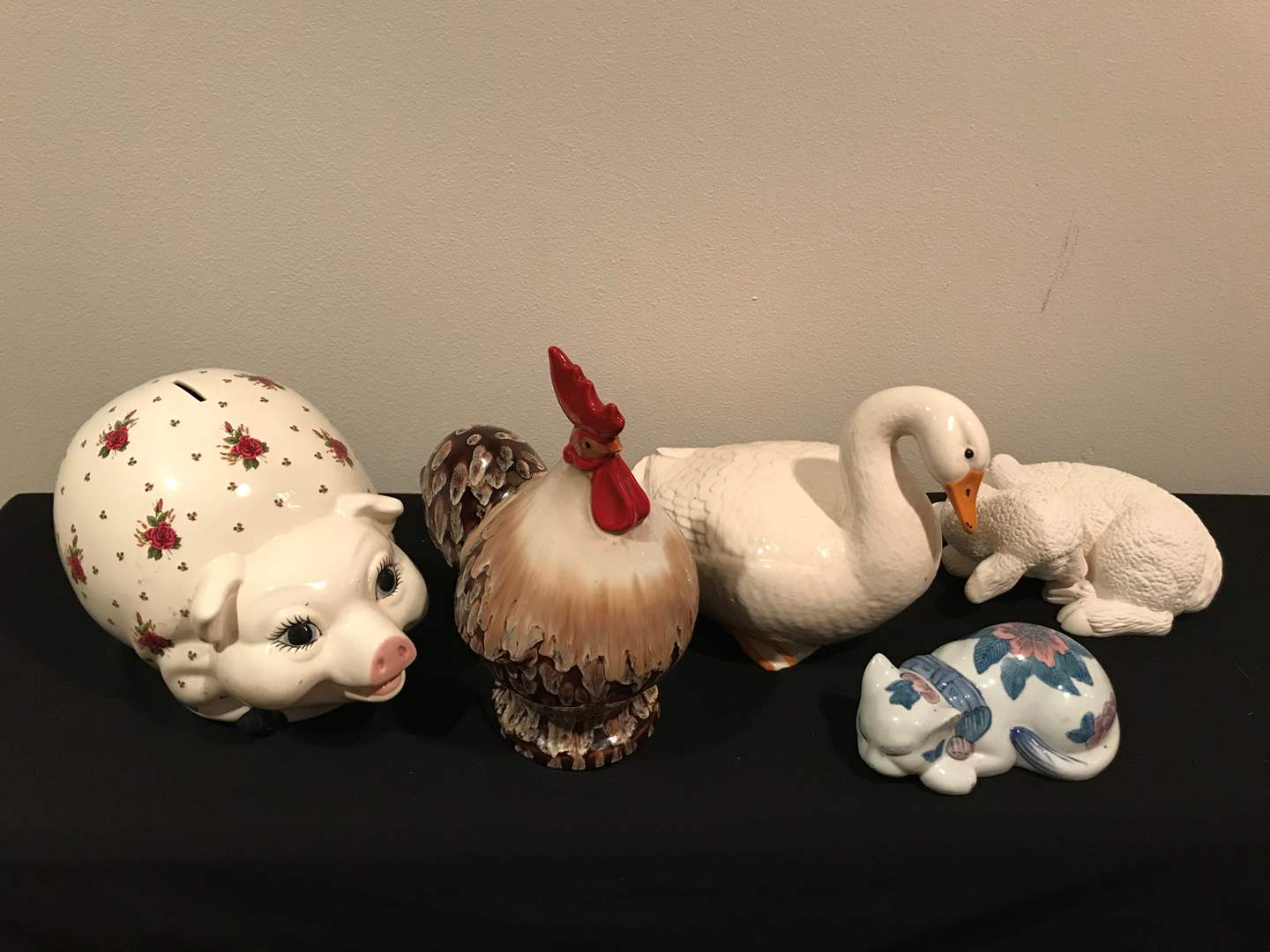 Lot # 59 - Five (5) Ceramic Animals (Includes A Very Fancy Piggy Bank and Rooster) (main image)