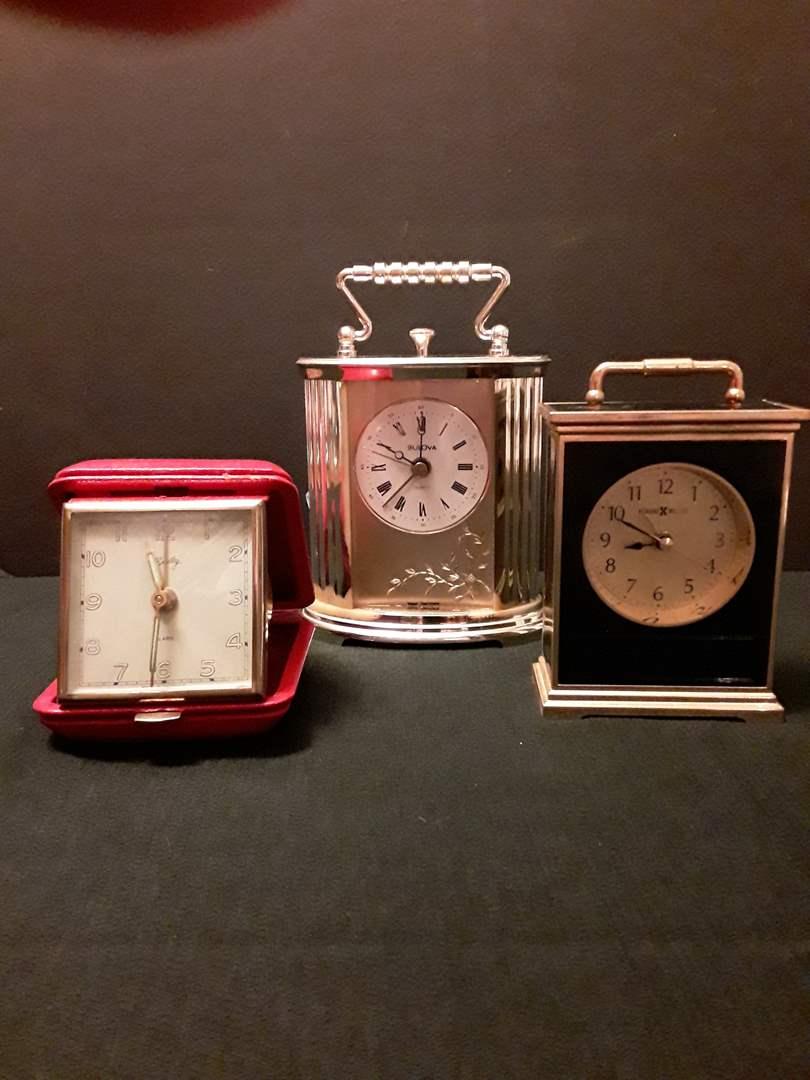 Lot # 76 - Lot of (3) Small Vintage Clocks (Bulova, Howard Miller, Bradley) (main image)