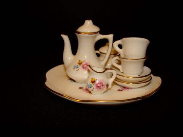 Lot # 79 - Vintage Miniature China Tea Set (8 pieces) (main image)