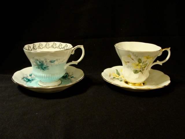 "Lot # 80 - Pair of (2) Royal Albert Cup and Saucer Sets (""Dawnsong"" and ""Primrose"") (main image)"