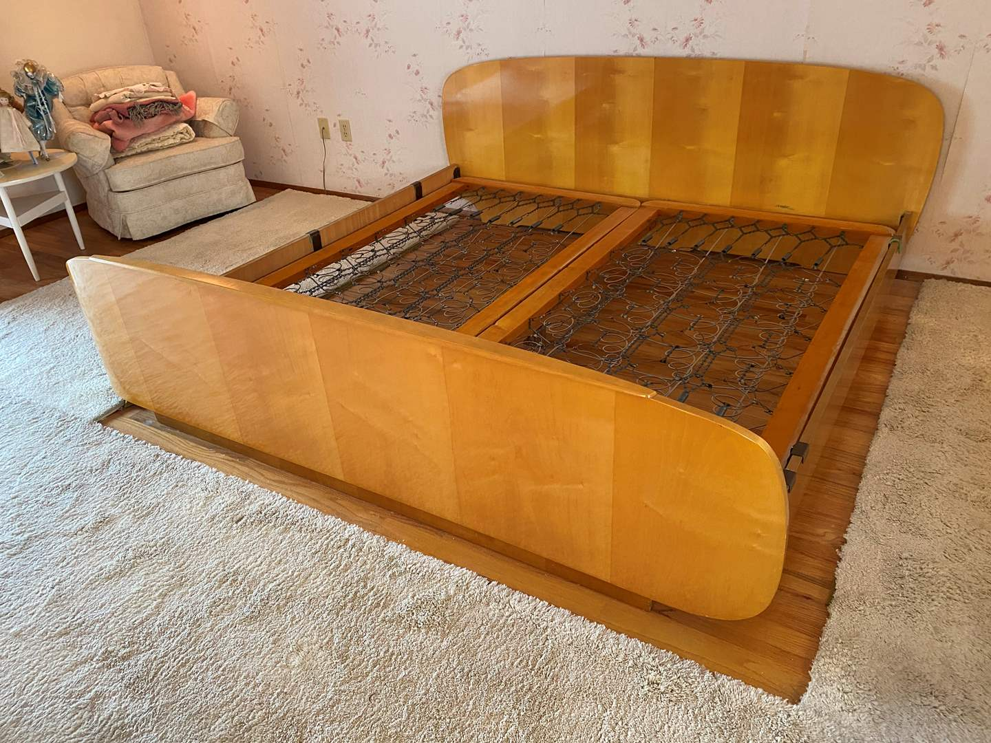 Lot # 5 - Awesome Mid-Century King Size Bed Frame w/Two Twin Box Springs (main image)