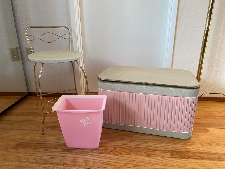 Lot # 10 - Vintage Stool, Chest Filled w/Sewing Fabrics, Vintage Vanity Stool & Vintage Pink Trash Can (main image)