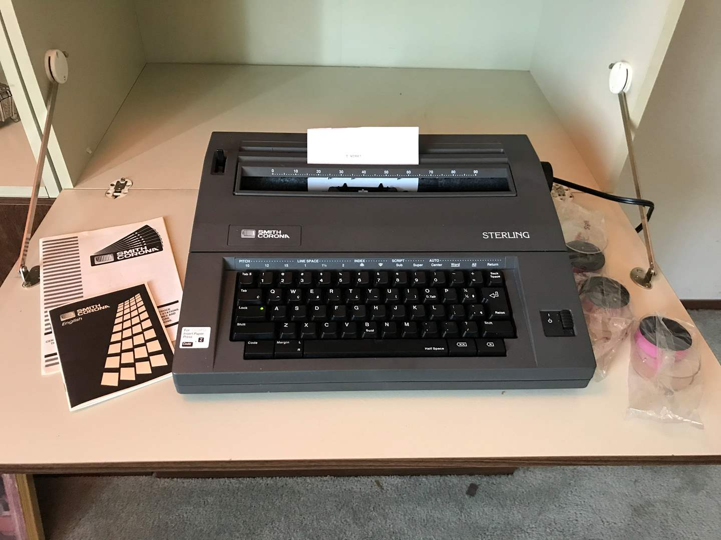 Lot # 105 - Vintage Smith Corona Sterling Electric Typewriter w/3 New Ribbons - Powers On & Works (main image)