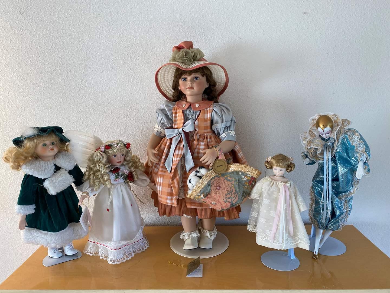Lot # 16 - Five Porcelain Dolls - See Pictures for Details (main image)