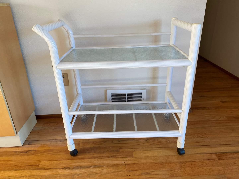 Lot # 17 - White Acrylic & Glass Cart (main image)
