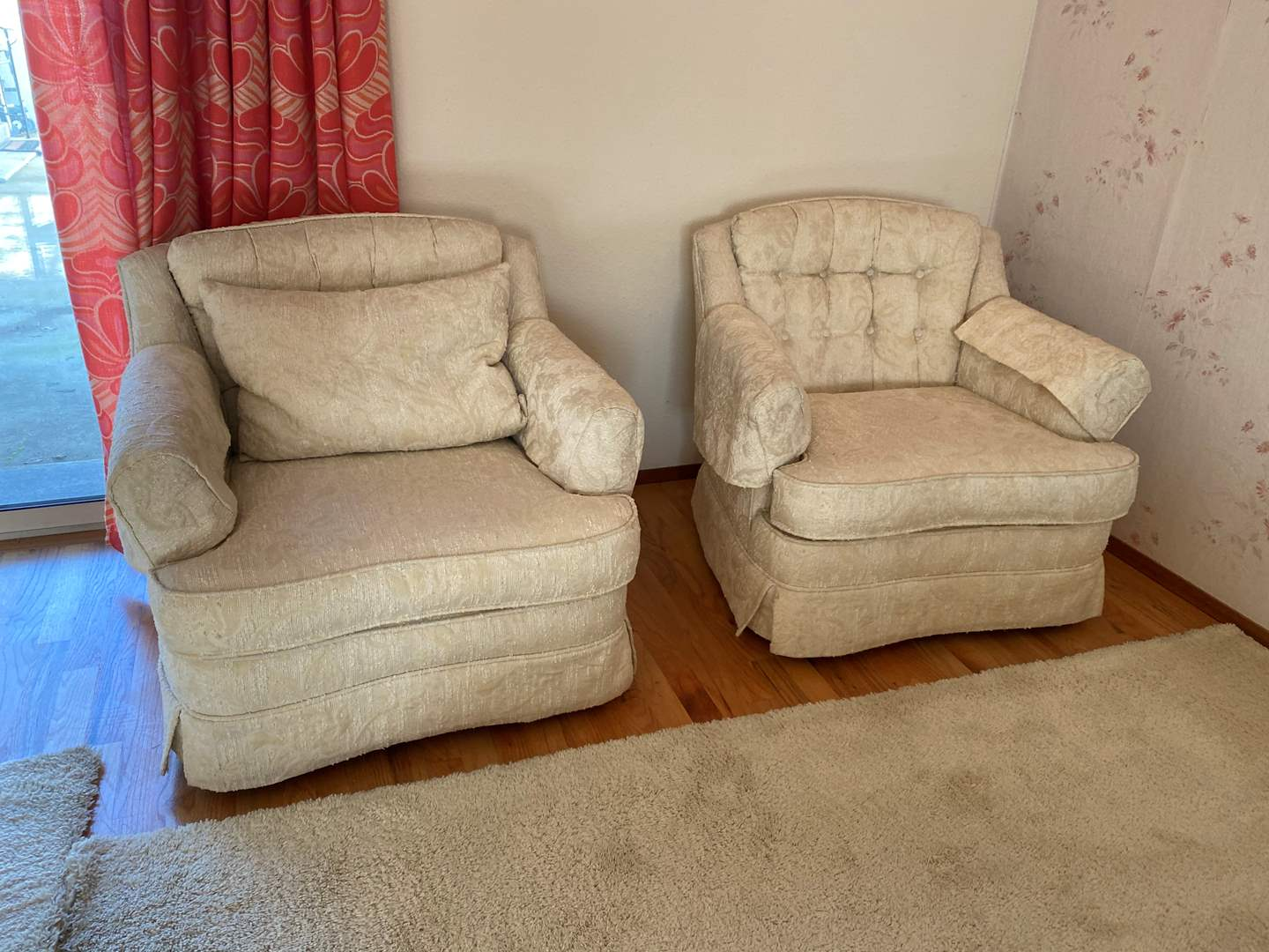Lot # 19 - Two Vintage Ivory Colored Arm Chairs (main image)