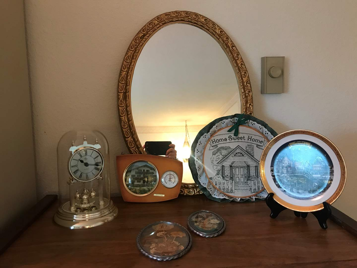 Lot # 114 - Wall Art, Vintage Elgin Anniversary Clock, Theo Kuhn 22K Gold Rimmed Plated Plate, German Thermometer & More. (main image)