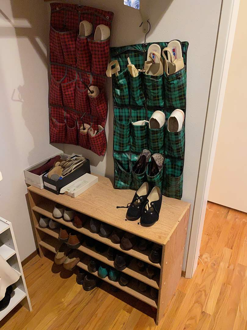 Lot # 28 - Shoe Rack & Shoe Organizers Full of Women's Shoes - See Pictures for Details (main image)