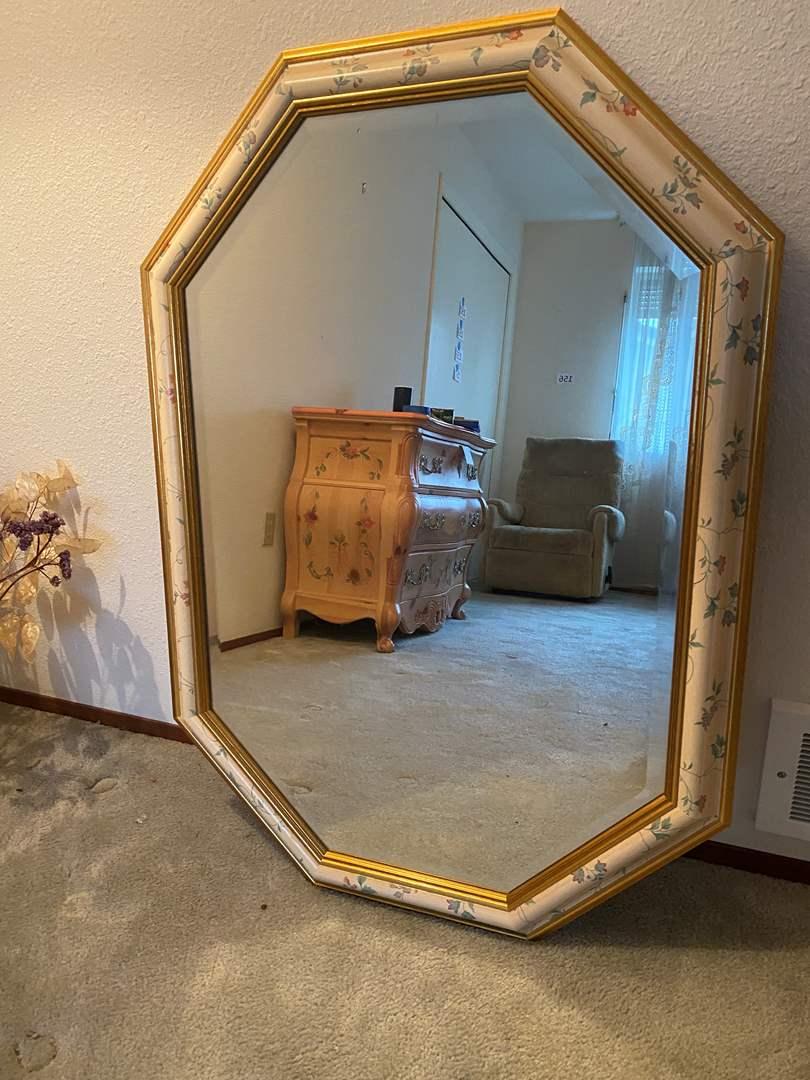 "Lot # 160 - Nice Solid Wood ""Vanguard Studios"" Beveled Glass Mirror (main image)"
