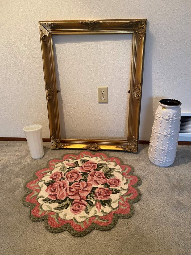 """Lot # 162 - Vintage """"Europa"""" W.German Vase #7346-40, Wood Picture Frame, Small Floral Rug, Small Milk Glass Vase (main image)"""