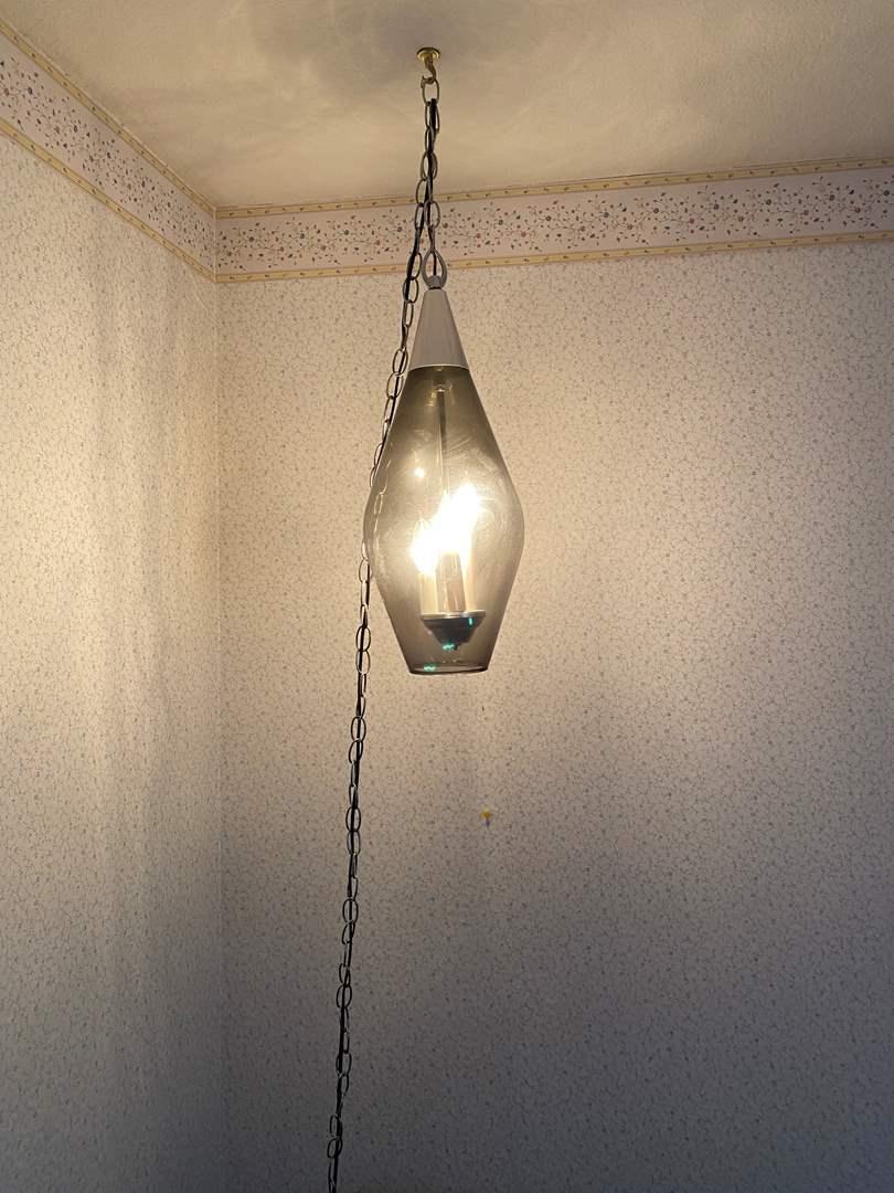 Lot # 166 - Vintage Mid-Century Smoked Glass Swag Lamp (main image)