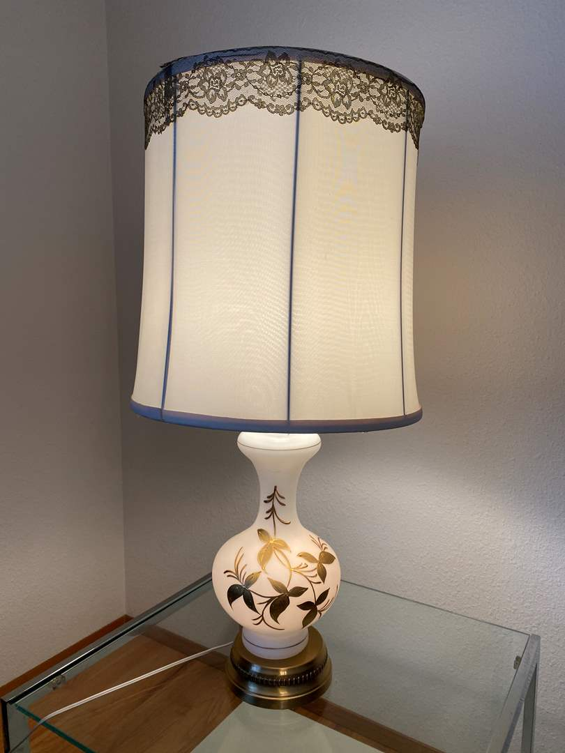 "Lot # 173 - Vintage Mid-Century Hand Blown & Hand Painted German ""Bavarian Bristol"" Table Lamp - 30.25"" Tall  (main image)"