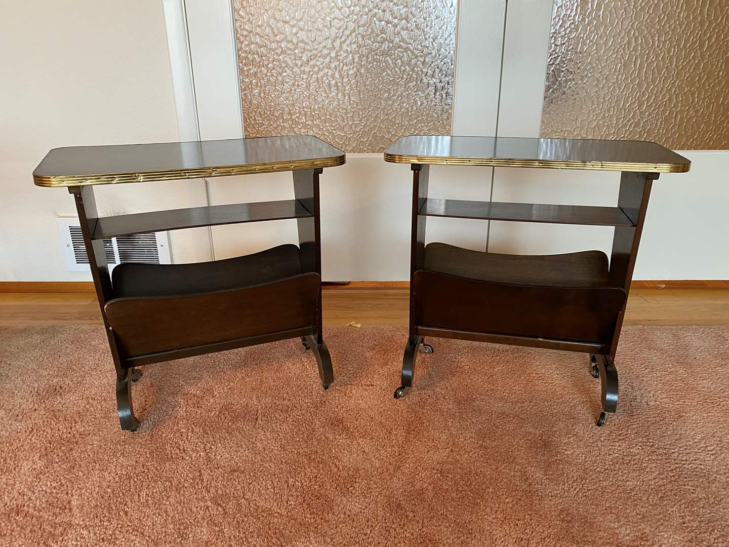 Lot # 177 - Two Vintage Rolling Side Tables w/Magazine Holder (main image)