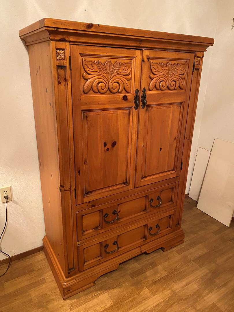 """Lot # 211 - Nice Solid Wood """"Broyhill"""" Armoire  (main image)"""