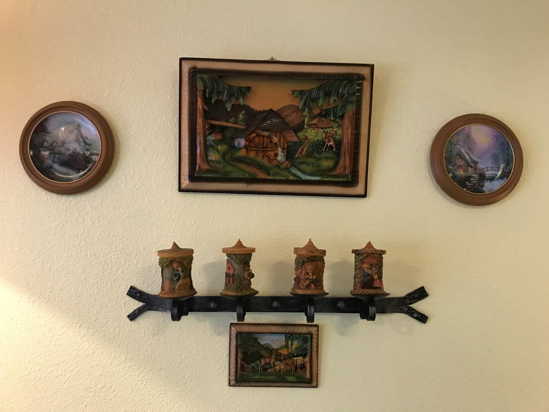 Lot # 197 - Beautiful Wood German 3D Wall Art, Thomas Kinkade Plates, Metal Wall Candle Holder (main image)