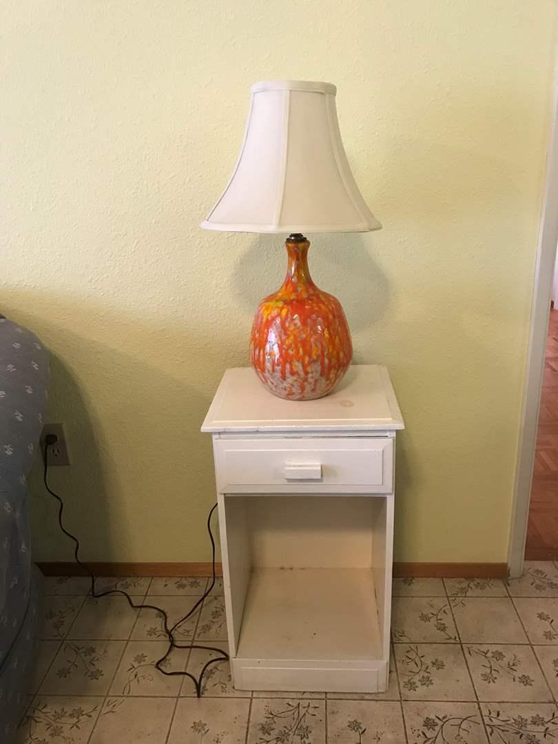 Lot # 198 - Small Wood Night Stand w/Mid-Century Style Lamp (main image)