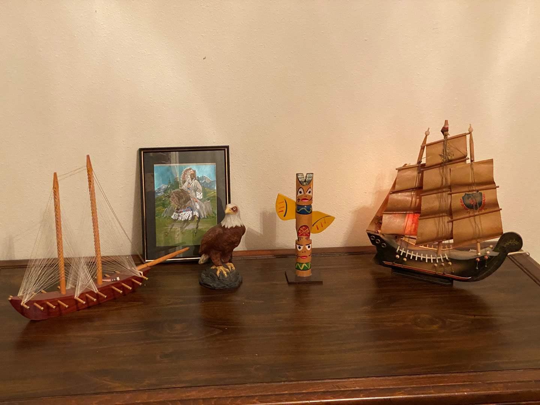 Lot # 226 - Ship Lamp, Wood Ship, Avon Eagle, Totem Pole, Native American Wall Art (main image)