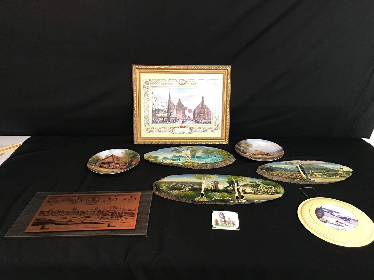 Lot # 205 - German Wall Art, Tin Five Cover, German Paintings on Wood, Collector Plates & More.. (main image)