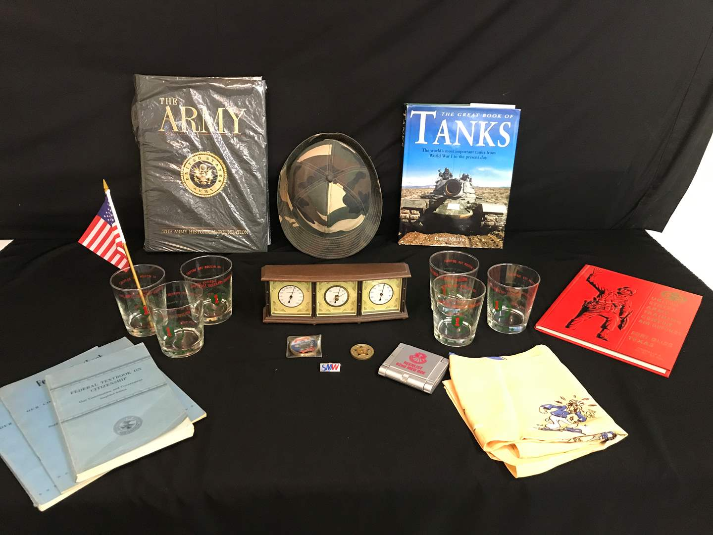Lot # 207 - Military Items: Books, Glasses, Coins, Vintage Springfield Barometer & More.. (main image)