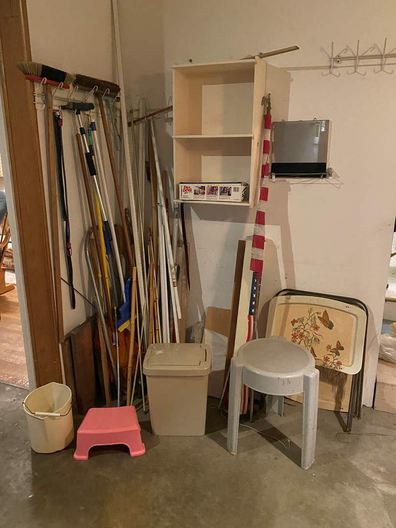 Lot # 257 - Vintage TV Trays, Step Stools, Curtain Rods, Brooms & More.. (main image)