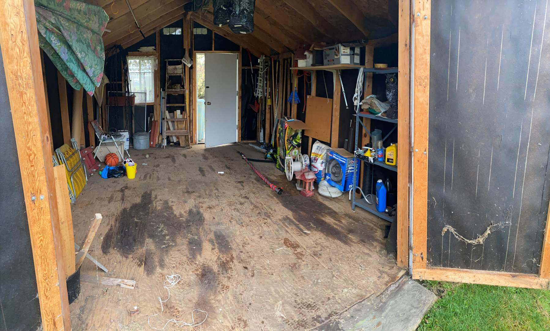 Lot # 276 - Shed Full of Yard Tools, Yard Games, Chairs, Chain Saw, Craftsman Hedge Clippers & More..  (main image)