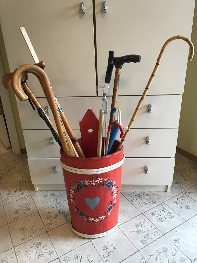 Lot # 264 - Cute Wood Bucket Filled w/Canes & More.. (main image)