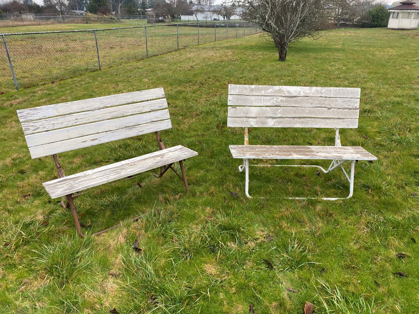 Lot # 283 - Two Vintage Metal & Wood Folding Benches (main image)