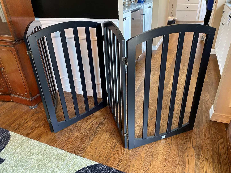 Lot # 5 - Nice Large 4-Panel Wood Baby Gate/Divider  (main image)