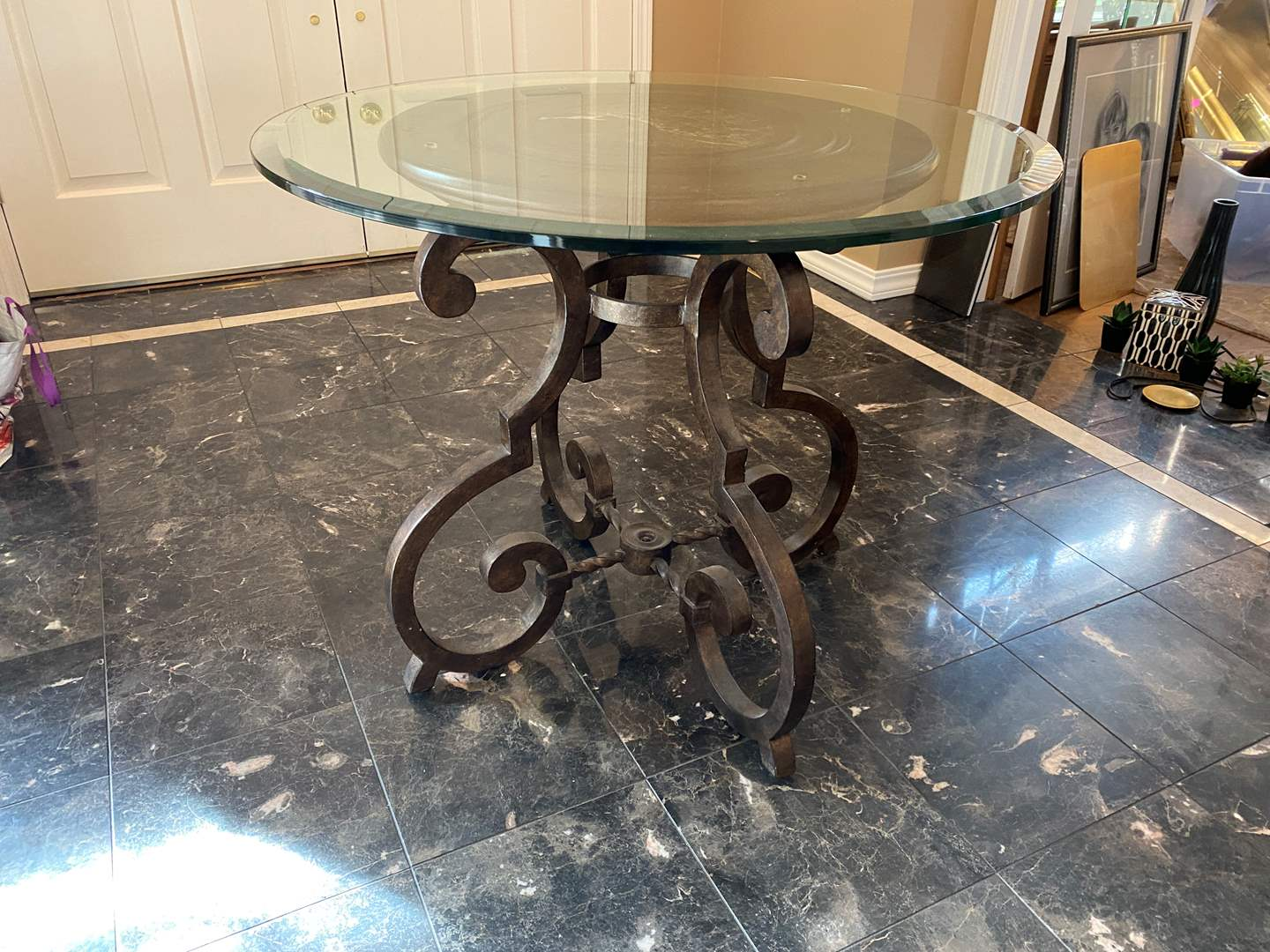 Lot # 7 - Nice Heavy Wrought Iron Table w/Wood & Glass Top (main image)