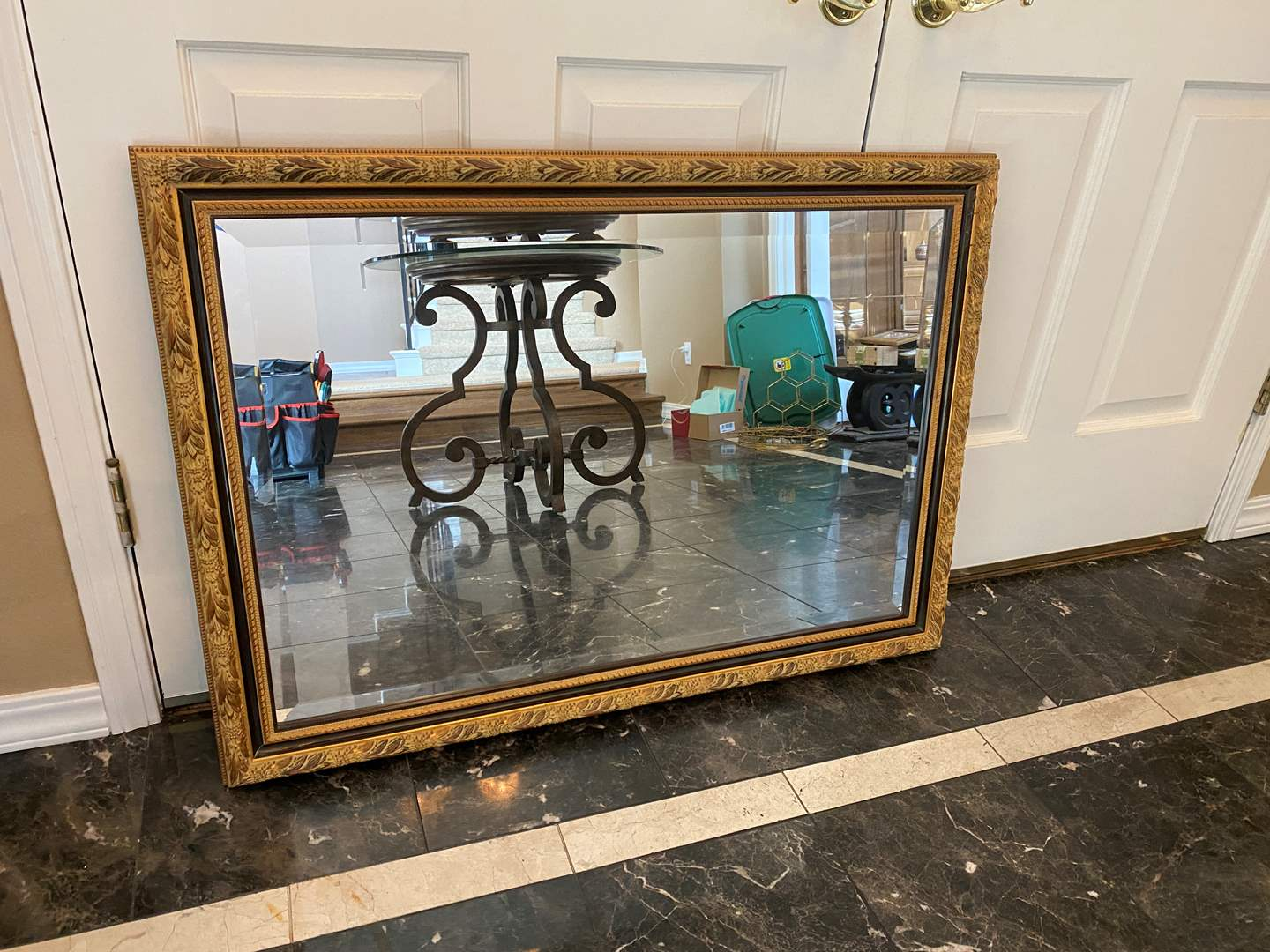 Lot # 11 - Beautiful Vintage Style Gold Toned Wood Mirror (main image)