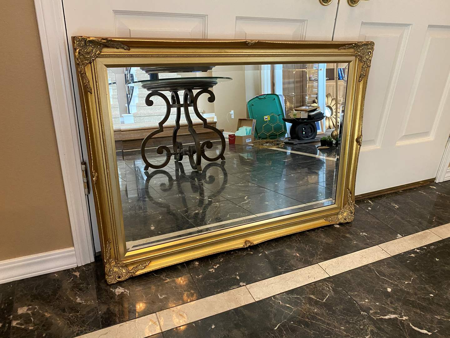 Lot # 12 - Beautiful Vintage Style Gold Toned Wood Mirror (main image)