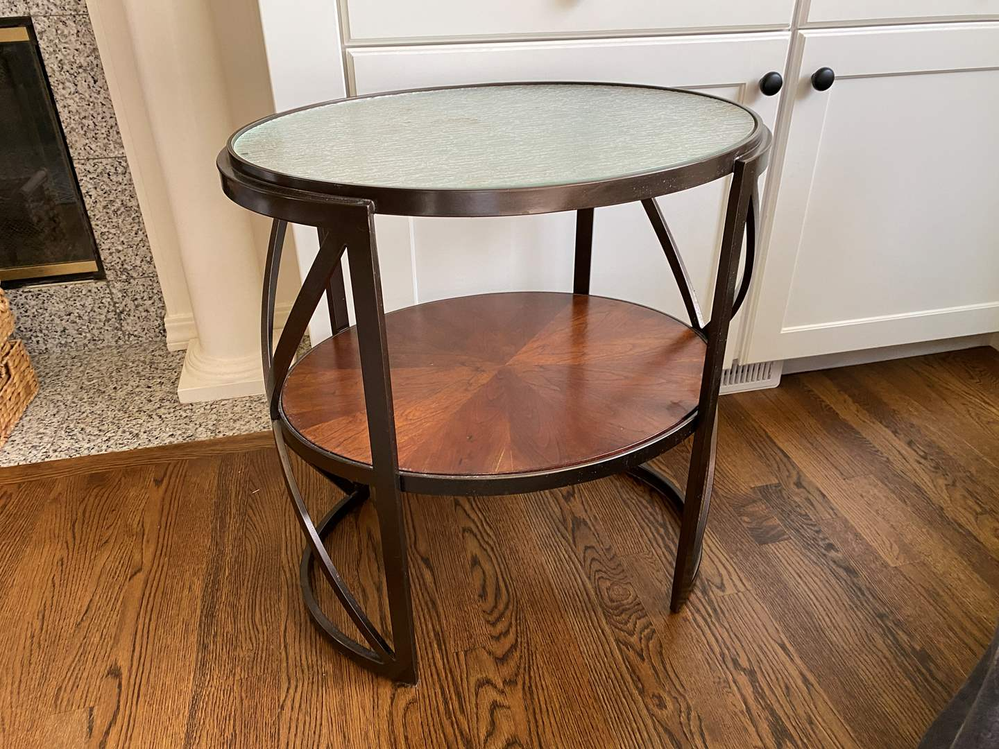 Lot # 17 - Metal Side Table w/Glass Top  (main image)