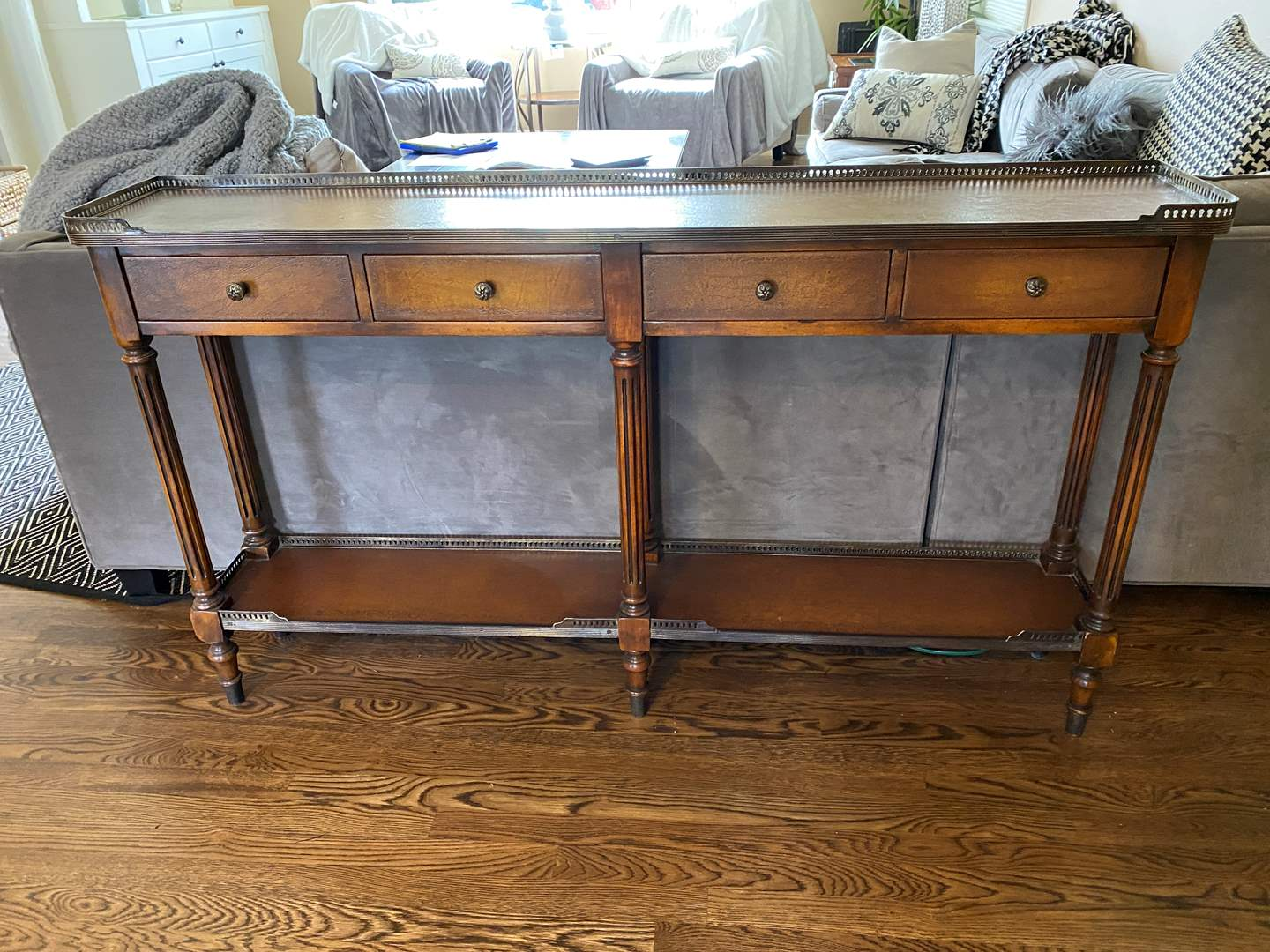 Lot # 18 - Vintage/Antique Style Four Drawer Brass Gallery Sofa Table  (main image)