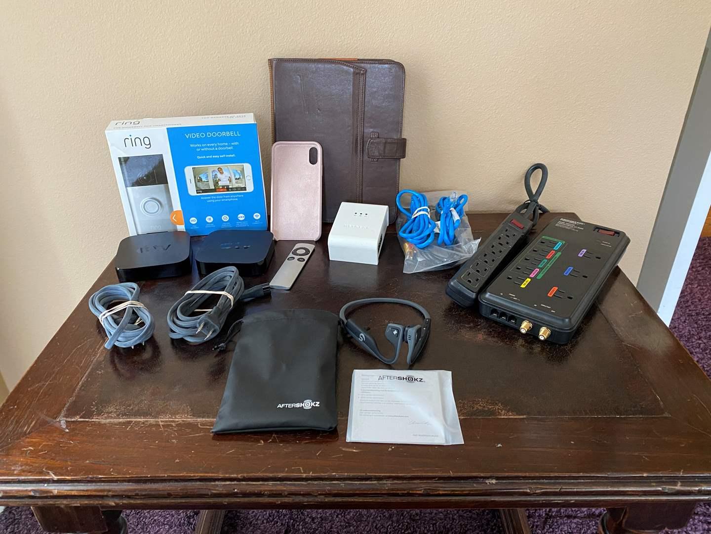 Lot # 22 - After Shokz Trekz Titanium Bluetooth Headphones, Two Gen II Apple TV Devices, New in Box Ring Doorbell & More.. (main image)
