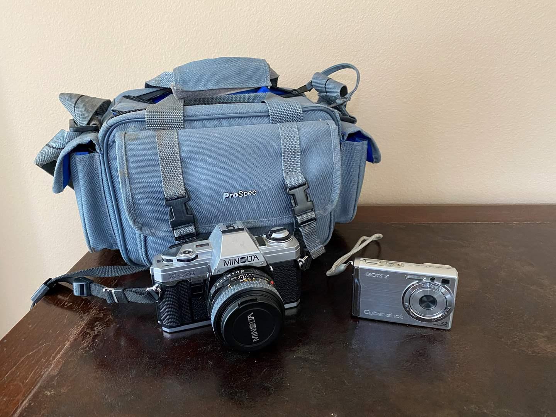 Lot # 23 - Vintage Minolta X-370 Camera w/Case, Sony Cyber-Shot 7.2MP Digital Camera  (main image)