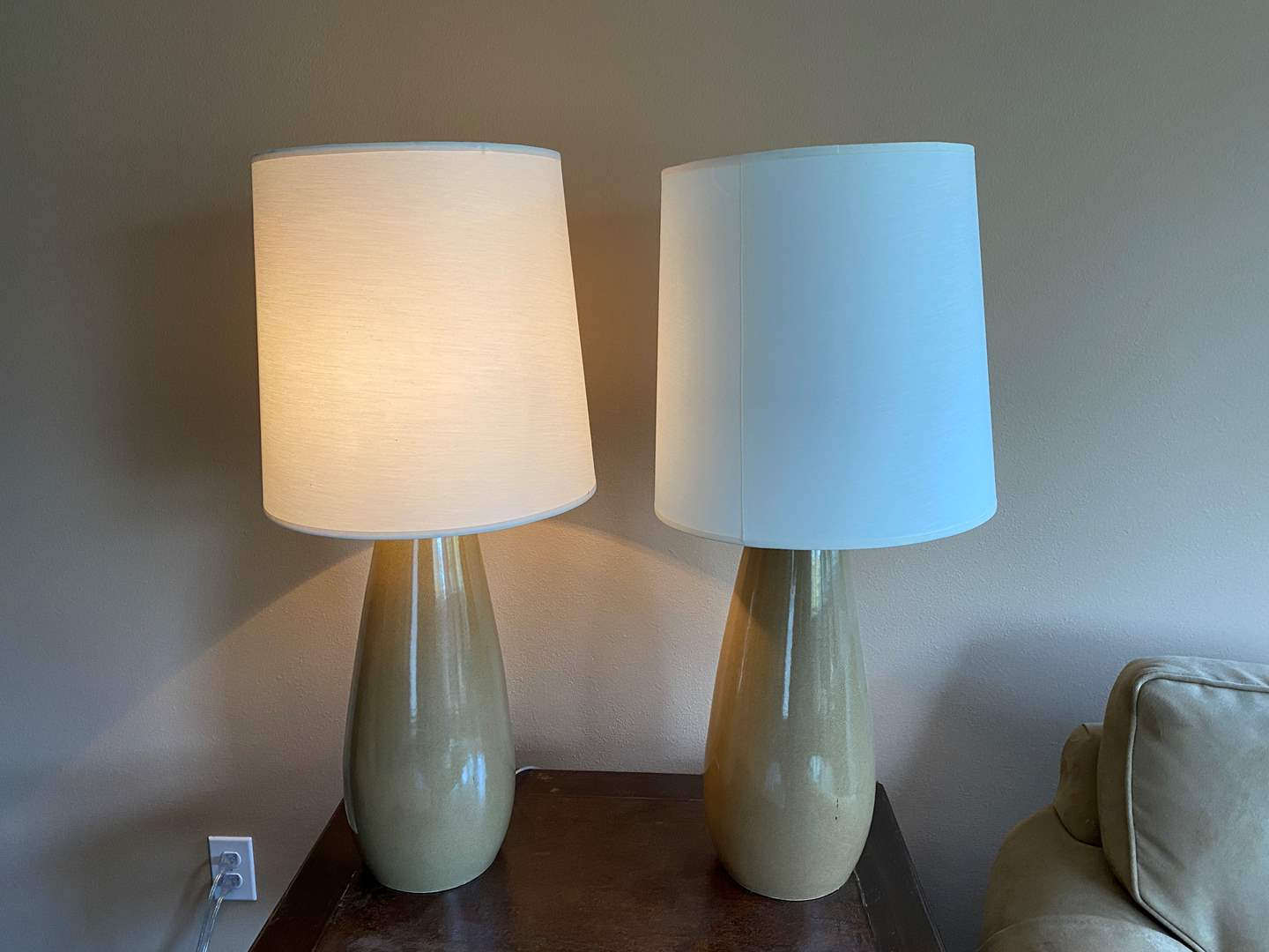 """Lot # 25 - Two Ceramic Table Lamps - 32"""" Tall  (main image)"""