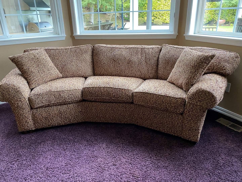 Lot # 29 - Nice Flexsteel Tweed Style Curved Sofa  (main image)