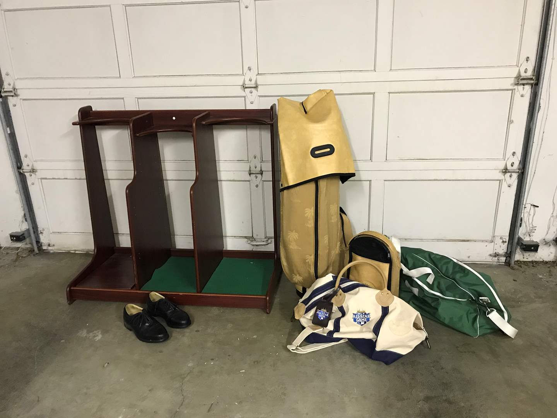 Lot # 38 - Golf Bag Rack, Tommy Bahama Golf Bag, Nike Golf Shoes & More.. (main image)