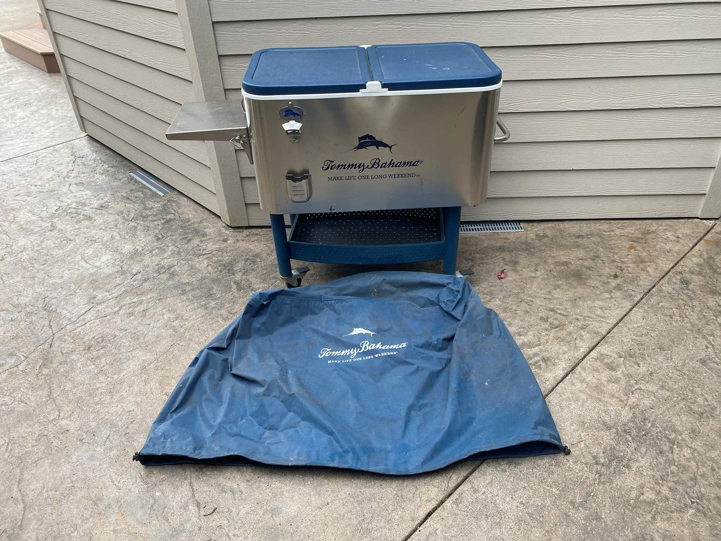 Lot # 88 - Tommy Bahama Cooler Center on Wheels w/Cover  (main image)