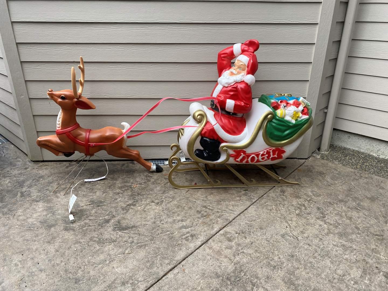 Lot # 90 - Vintage Lighted Santa & Reindeer Decoration (main image)