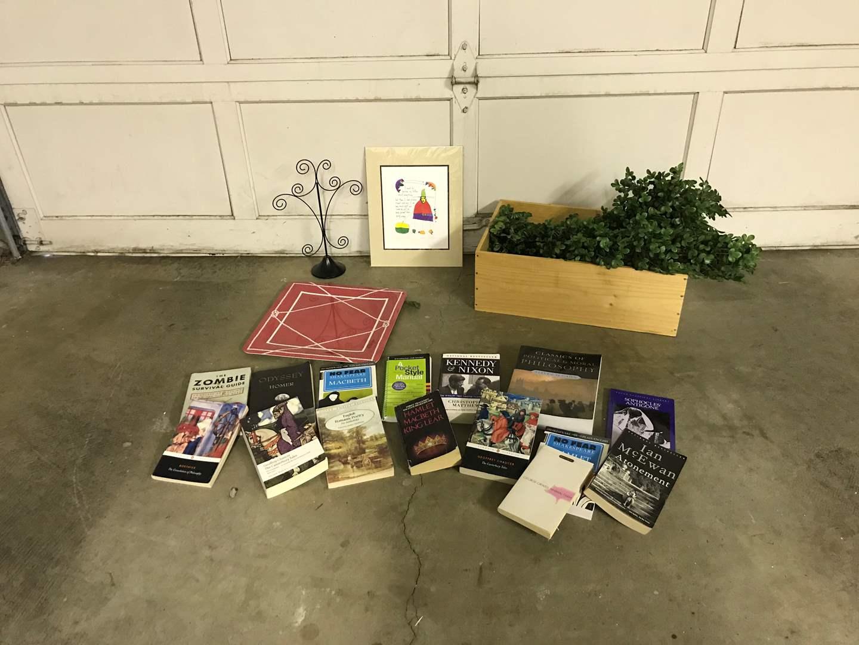 Lot # 46 - Faux Greenery, Books, Platter, Wood Crate  (main image)