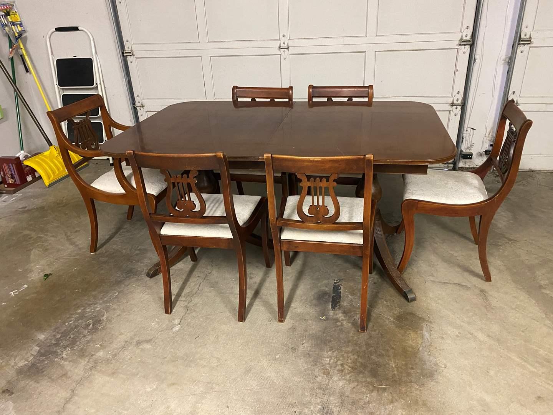 Lot # 49 - Antique Wood Dining Room Table w/Pop-Up Leaf (main image)