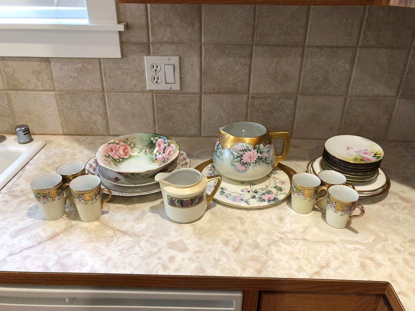 Lot # 61 - Selection of Misc. China: Serving Dishes, Saucers, Snack Plates, Pitchers & Cups - (See Photos for Brand & Patterns) (main image)