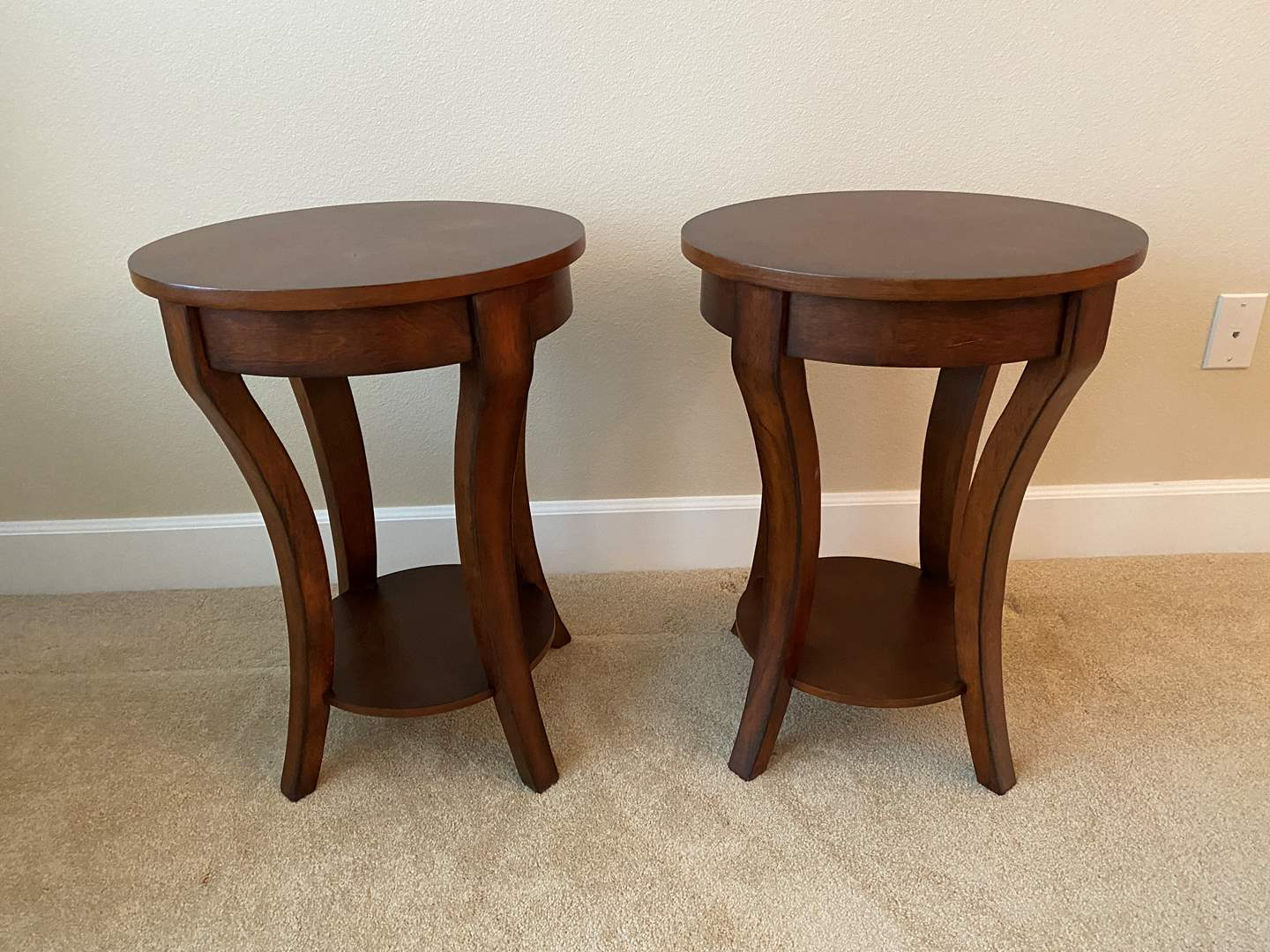 Lot # 7 - Matching Solid Wood Side Tables  (main image)