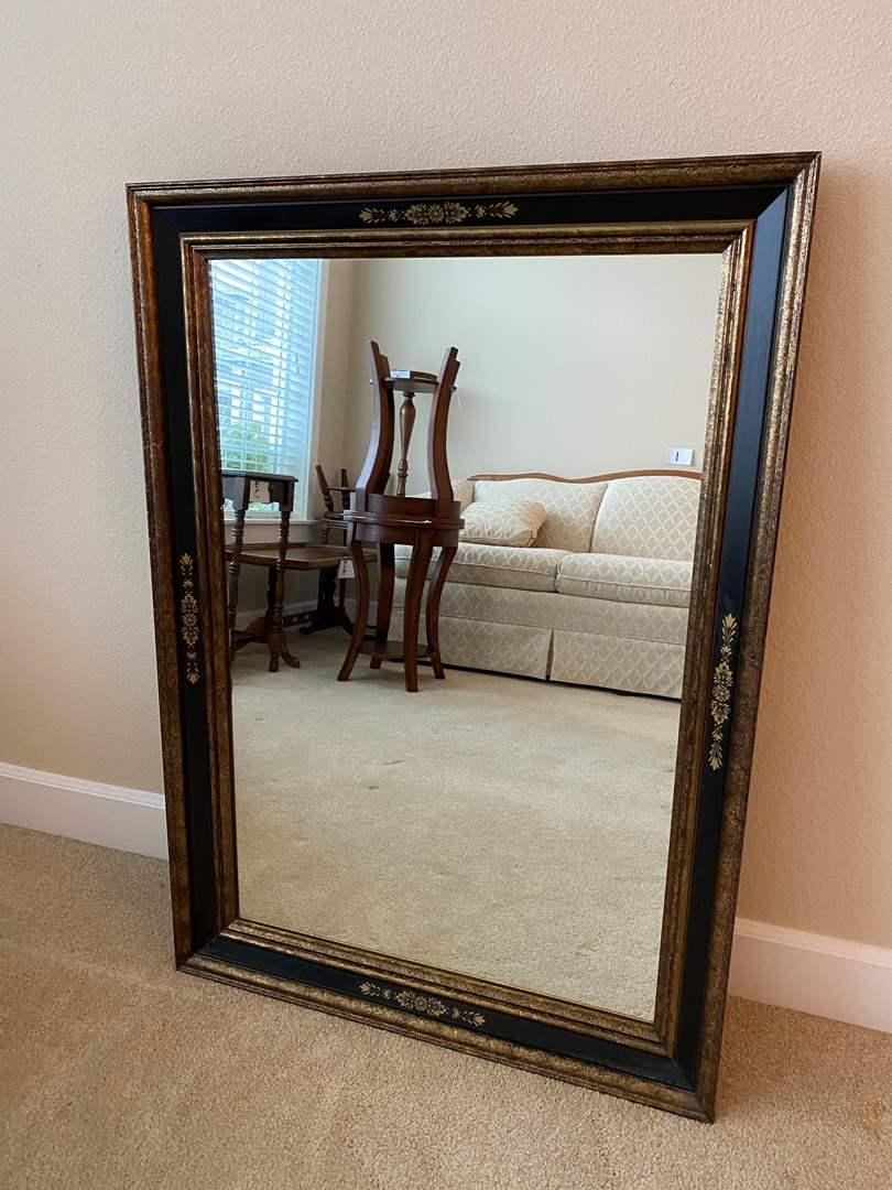 "Lot # 8 - Vintage Solid Wood ""Turner"" Wall Mirror (main image)"