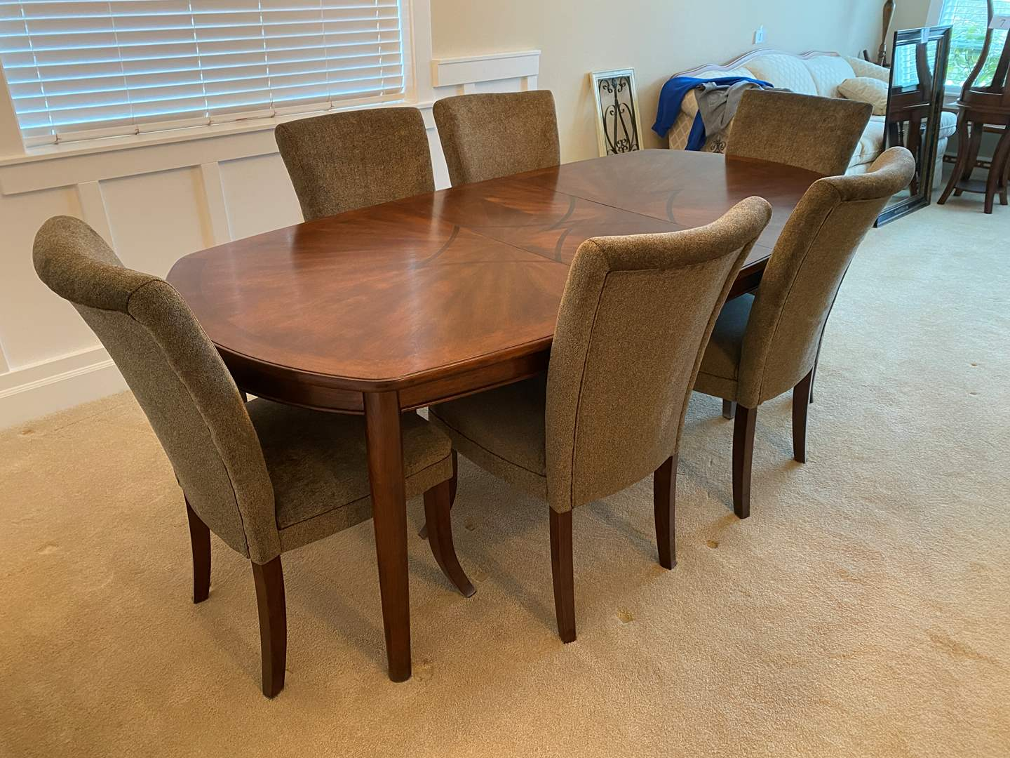 "Lot # 10 - Beautiful Black Cherry Wood Dinning Room Table w/6 Chairs & 18"" Leaf (main image)"